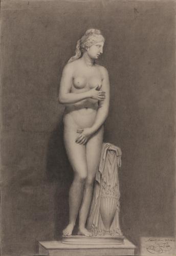 Estudio frontal de la escultura de la Venus Capitolina