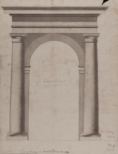 Estudio de arco de medio punto enmarcado por columnas de orden toscano y cornisamento