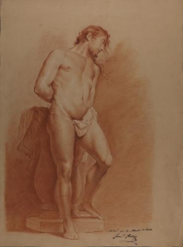 Estudio de modelo masculino desnudo de pie con las manos a la espalda como Cristo atado a la columna