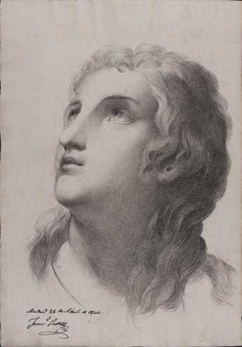 Estudio de cabeza femenina de tres cuartos mirando a la izquierda hacia arriba