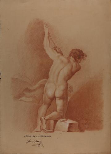 Estudio de modelo masculino desnudo semiarrodillado de espaldas agarrando con los dos brazos a una cuerda
