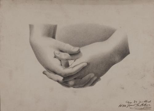 Estudio de manos entrelazadas