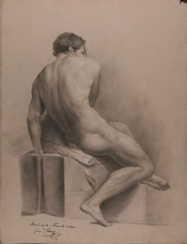 Estudio de modelo masculino desnudo sentado de perfil