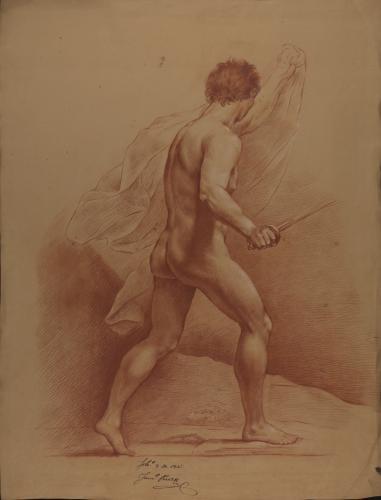 Estudio de modelo masculino desnudo con espada y paño