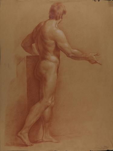 Estudio de modelo masculino desnudo de perfil con el brazo derecho extendido