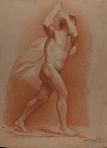 Estudio de modelo masculino desnudo en actitud de avanzar y agarrando con las dos manos una empuñadura