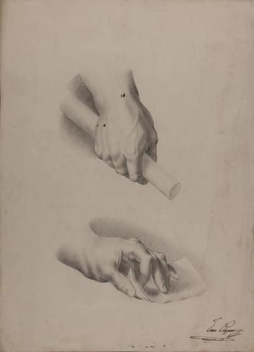 Estudio de mano derecha con bengala e izquierda con una hoja de papel