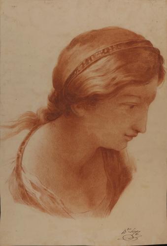 Estudio de cabeza femenina de perfil hacia la derecha con cinta en el pelo