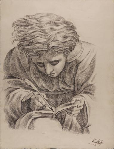 Estudio de joven escribiendo del fresco de la Escuela de Atenas de Rafael