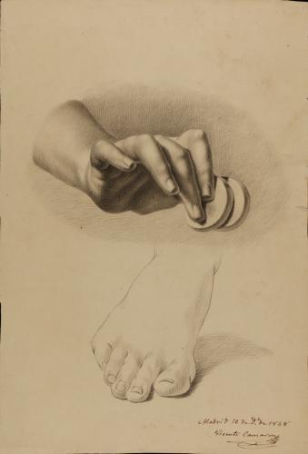 Estudio de mano derecha con dos monedas y apunte de pie derecho