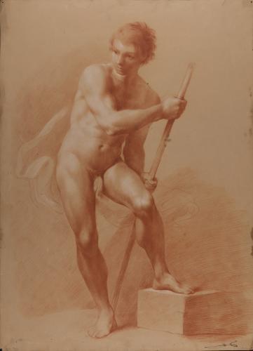 Estudio de modelo masculino desnudo de pie en actitud de remar