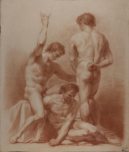 Estudio de un grupo de tres modelos masculinos desnudos