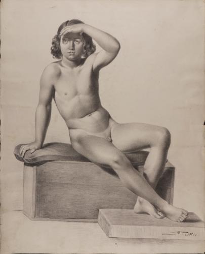 Estudio de un modelo masculino infantil desnudo sentado