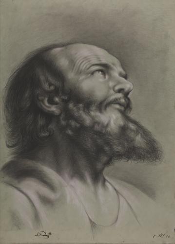 Estudio de cabeza de un apóstol hacia la derecha mirando hacia arriba