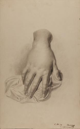 Estudio de mano derecha femenina sobre paño