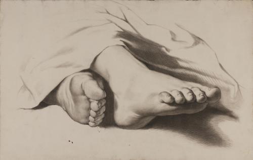 Estudio de los dos pies con ropaje