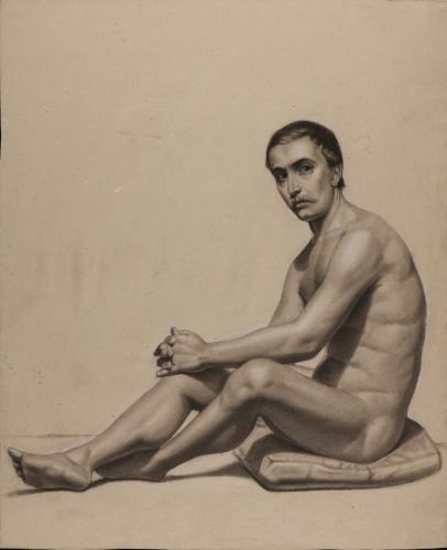 Estudio de modelo masculino desnudo, sentado sobre un cojín, de perfil hacia la izquierda