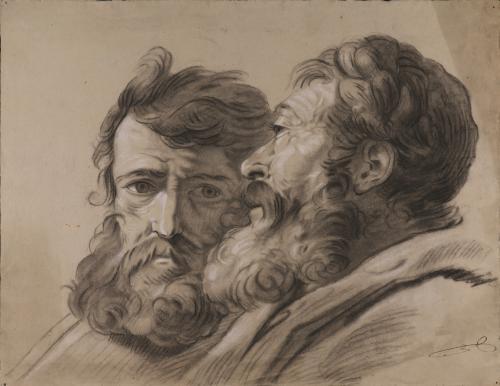 Estudio de dos cabezas masculinas barbadas, una de frente y otra de perfil