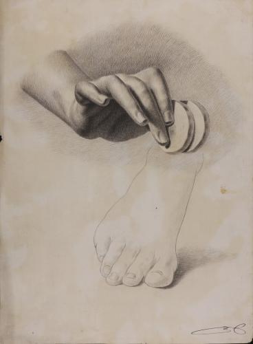 Estudio de mano derecha con dos monedas y apunte de pie