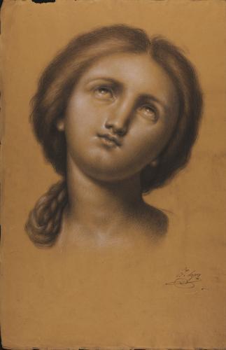Estudio de cabeza femenina frontal, con trenza, inclinada hacia la derecha