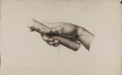 Estudio de mano derecha asiendo un astil de madera