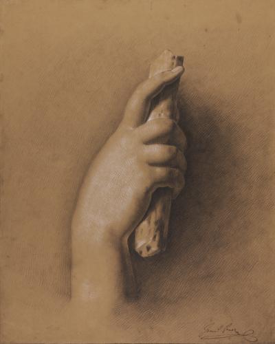 Estudio de mano derecha asiendo un fragmento de astil