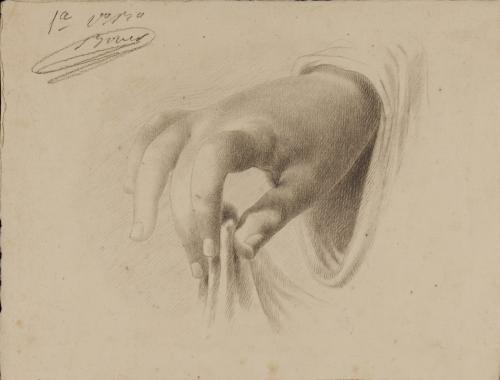 Estudio de mano sujetando un ropaje con tres dedos