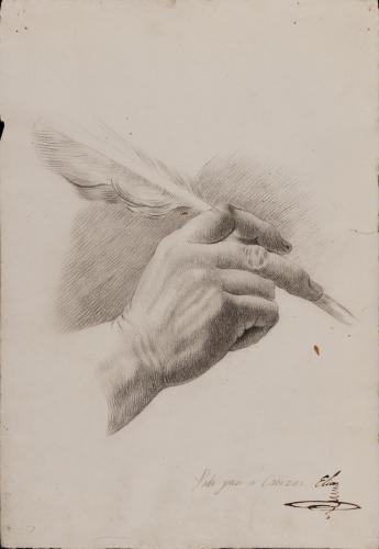 Estudio de mano derecha con pluma