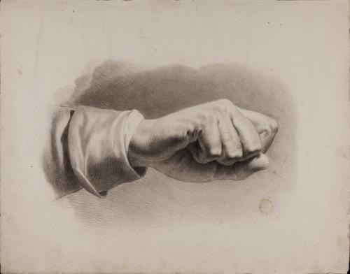 Estudio de mano cerrada en forma de puño