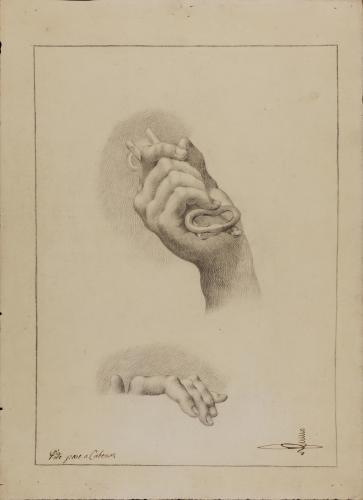 Estudio de mano derecha con llave y dedos de mano izquierda