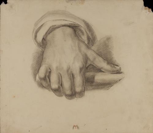 Estudio de mano derecha masculina con el pulgar extendido