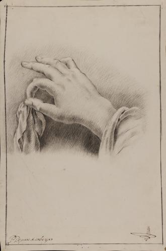 Estudio de mano derecha femenina sujetando un paño