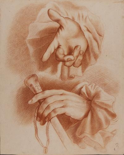 Estudio de mano derecha masculina y mano izquierda con bastón