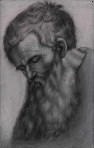 Estudio de cabeza de un apóstol inclinada hacia la izquierda