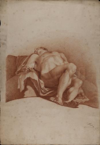 Estudio de modelo masculino desnudo recostado en escorzo