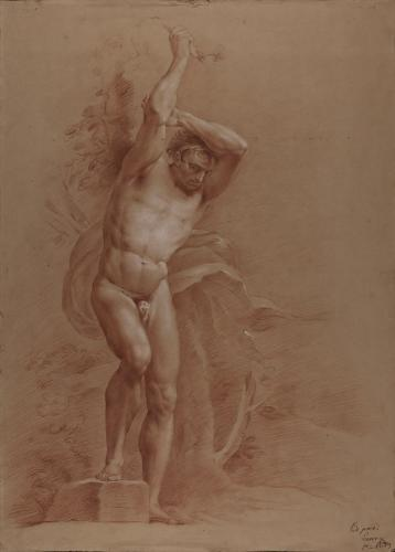 Estudio de modelo masculino desnudo de pie con la pierna derecha sobre una piedra y los brazos levantados