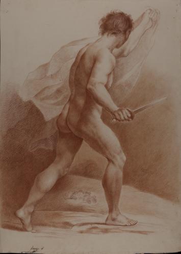 Estudio de modelo masculino desnudo de espaldas con paño y espada
