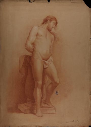 Estudio de modelo masculino desnudo de pie con las manos a la espalda (Cristo atada a la columna)