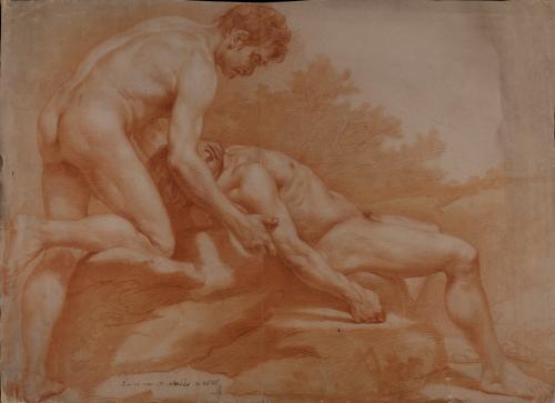 Estudio de dos modelos masculinos desnudos uno yaciente y el otro de pie, reclinado, asistiéndole