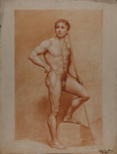 Estudio de desnudo masculino de pie con vara