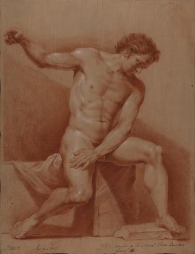 Estudio de modelo masculino desnudo sentado