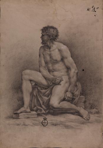 Estudio de modelo masculino desnudo sentado de perfil hacia la izquierda