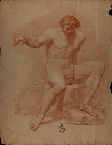 Estudio de modelo masculino desnudo sentado con el brazo derecho extendido agarrado a una vara