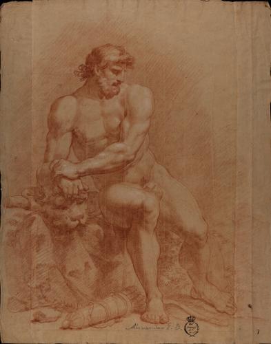 Estudio de modelo masculino desnudo como Hércules sentado