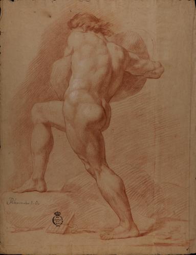 Estudio de modelo masculino desnudo de perfil con una gran roca