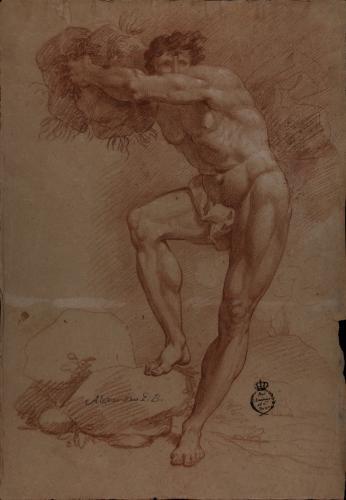Estudio de modelo masculino desnudo (cíclope) sosteniendo una gran piedra