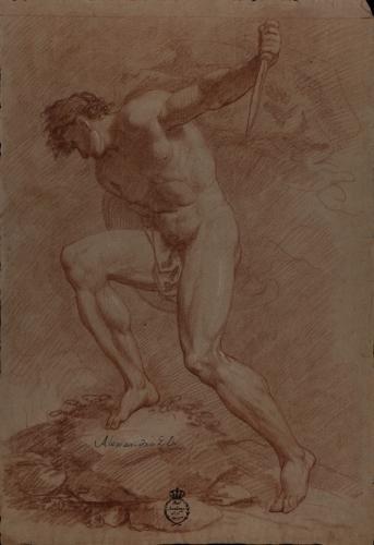 Estudio de modelo masculino desnudo con cuchillo y escudo