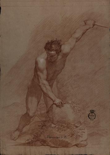 Estudio de modelo masculino desnudo semiarrodillado apoyado en una piedra con la mano derecha y con un cuchillo en la izquierda