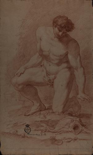Estudio de modelo masculino desnudo semiarrodillado de frente observando un pez