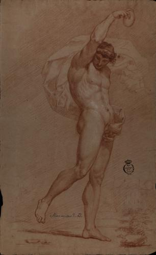 Estudio de modelo masculino desnudo con el brazo derecho alzado